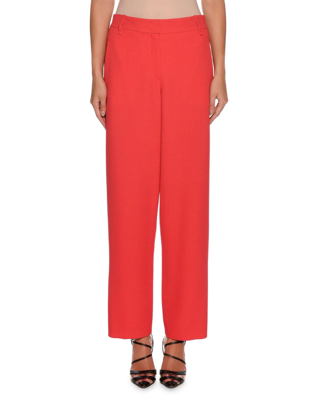 Waffle-Weave Zip-Front Wide-Leg Wool-Blend Pants