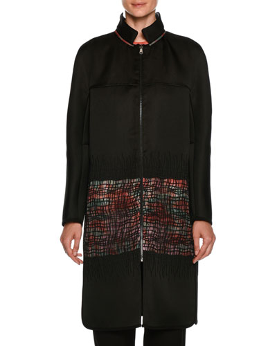 Satin Reversible Coat with Floral-Print & Sheer Lattice