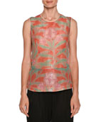 Floral-Print Sleeveless Silk Shell