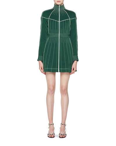Long-Sleeve Zip-Front Fitted Short Dress with Contrast Topstitching