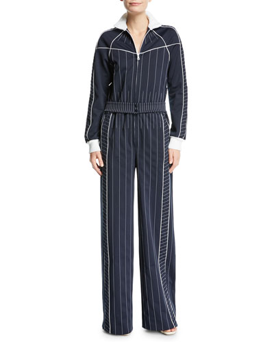 Long-Sleeve Zip-Front Striped Techno Jersey Wide-Leg Jumpsuit