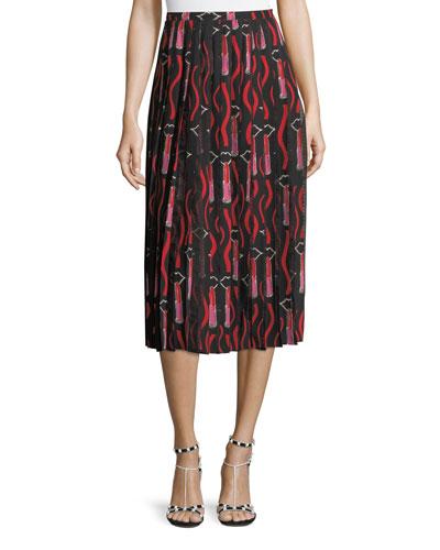 Zandra Lipstick Waved Crepe de Chine A-Line Midi Skirt