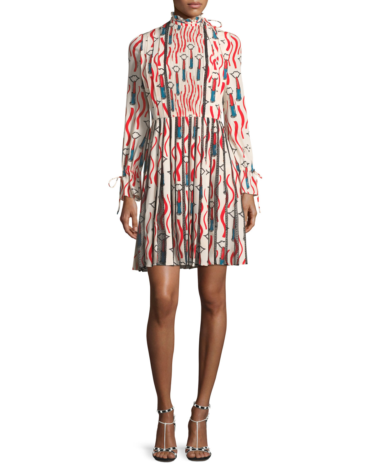 Mock-Neck Long-Sleeve Crepe de Chine Lipstick-Print Dress