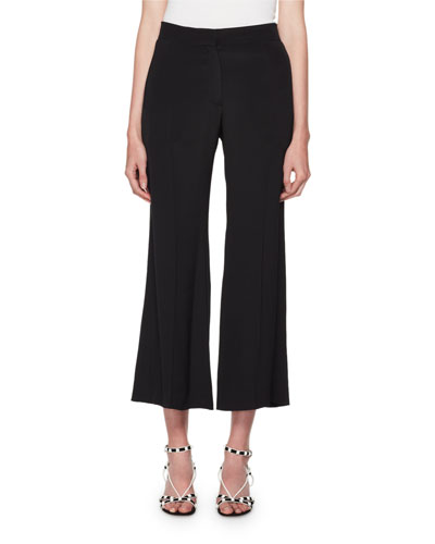 High-Rise Flared-Leg Cropped Silk Pants