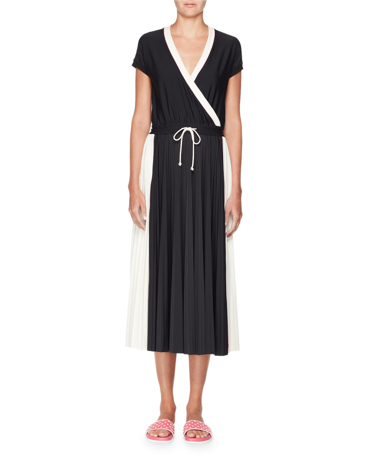 Short-Sleeve Faux-Wrap Bicolor Jersey Midi Dress