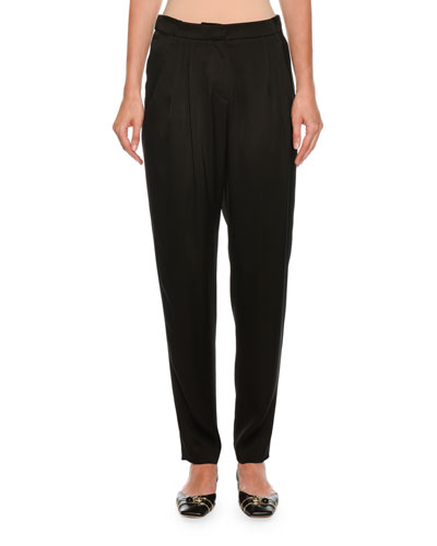 Pleated Relaxed Silk Pants