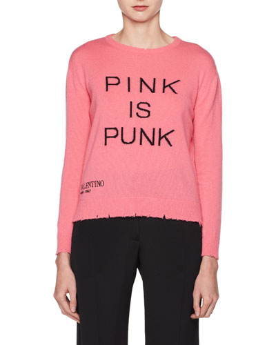Pink Is Punk Crewneck Wool-Cashmere Sweater