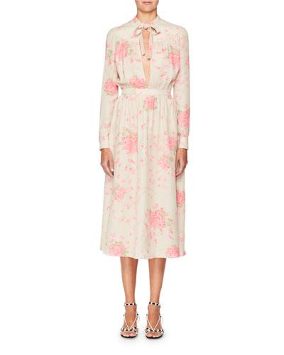 Long-Sleeve Tie-Neck Silk Georgette Rose-Print Ankle-Length Dress