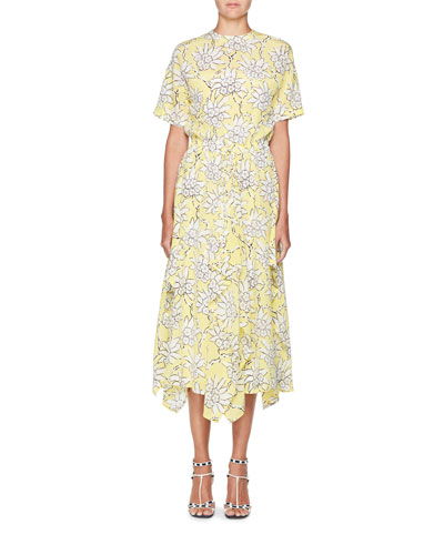Floral-Print Short-Sleeve A-Line Midi Dress