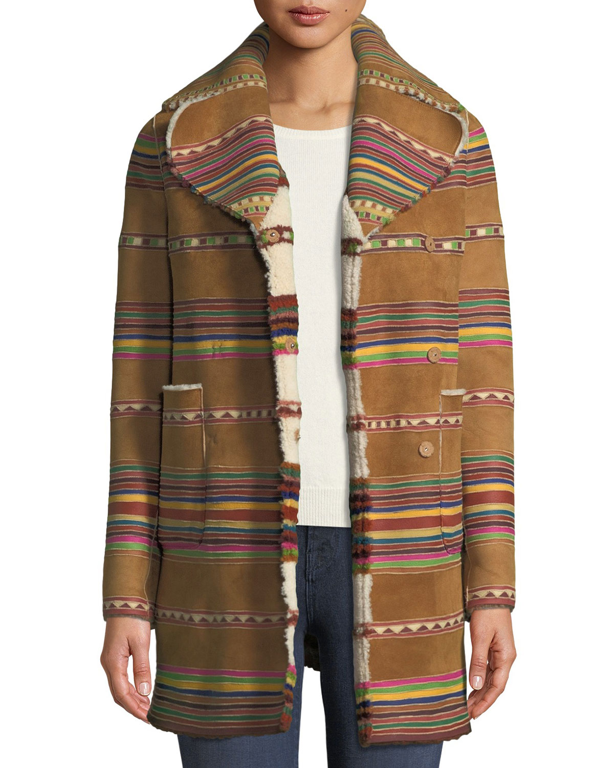 Intarsia Lamb Shearling Reversible Coat