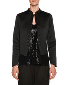 Neru-Collar Silk Grosgrain Short Jacket with Jeweled Buttons