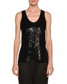 Scoop-Neck Velvet Sequined Tank Top