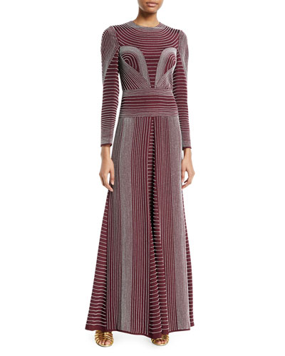 Long-Sleeve Embroidered Silk Evening Gown