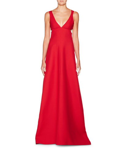 Deep-V Sleeveless Cutout Crepe Evening Gown