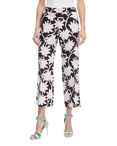 Rhododendron-Print Mid-Rise Straight-Leg Ankle Pants