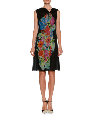 Sleeveless A-Line Silk Chiffon Dress w/ Floral-Print