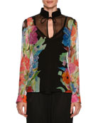 Tie-Neck Floral-Print Sheer Blouse
