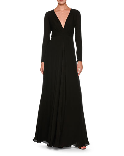 Plunging Long-Sleeve Silk Cady Floor-Length Dress