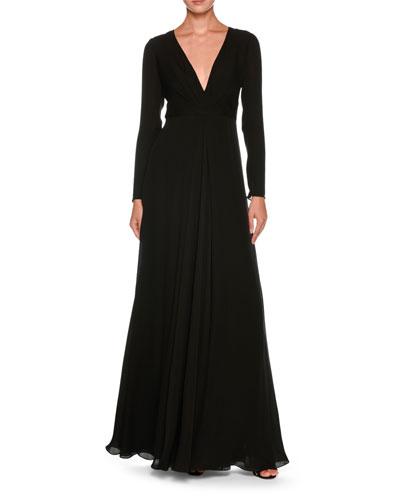 Plunging Long-Sleeve Silk Cady Floor-Length Dress