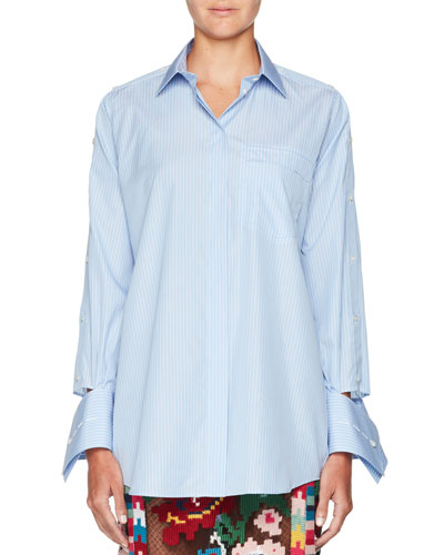 Button-Front Striped Poplin Blouse