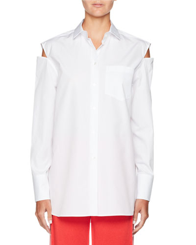 Slit-Shoulder Button-Front Cotton Poplin Blouse