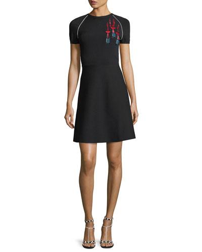 Short-Sleeve Lipstick-Sequined Stretch Knit Dress