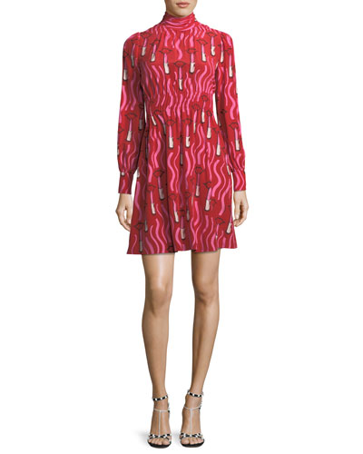 Zandra Mock-Neck Long-Sleeve Crepe de Chine Lipstick-Print Dress