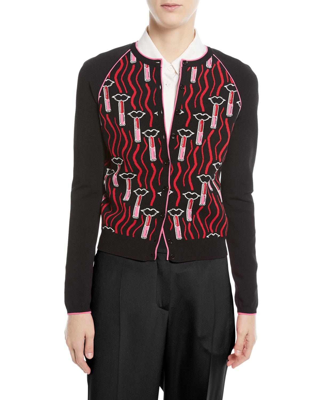 Lipstick-Jacquard Button-Front Cardigan