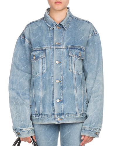 Oversized Denim Allover Logo Jacket