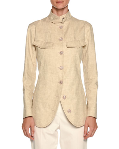 Stand-Collar Button-Front Coated Linen Utility Jacket