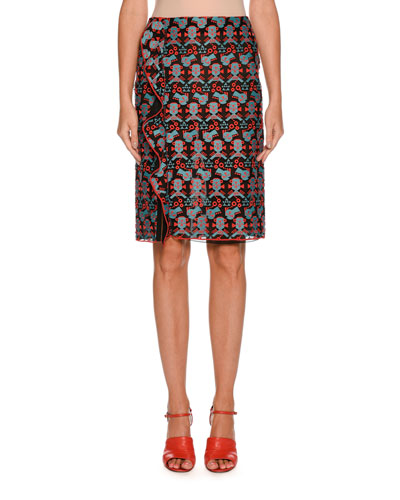 Side-Ruffle Jacquard Straight Skirt