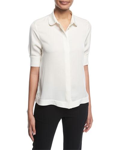 Button-Front Half-Sleeve Silk Swing Blouse