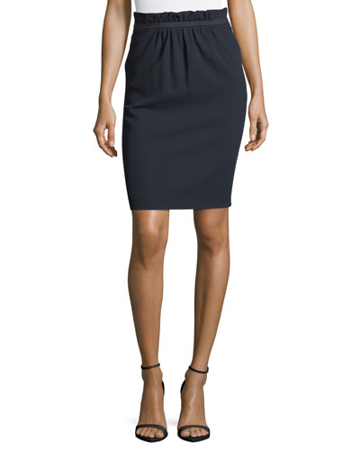 Paperbag Waist Stretch-Wool Pencil Skirt