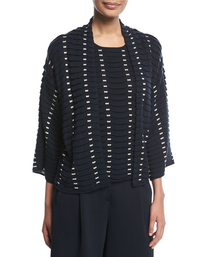 Open-Front Long-Sleeve Easy Jacquard Knit Cardigan