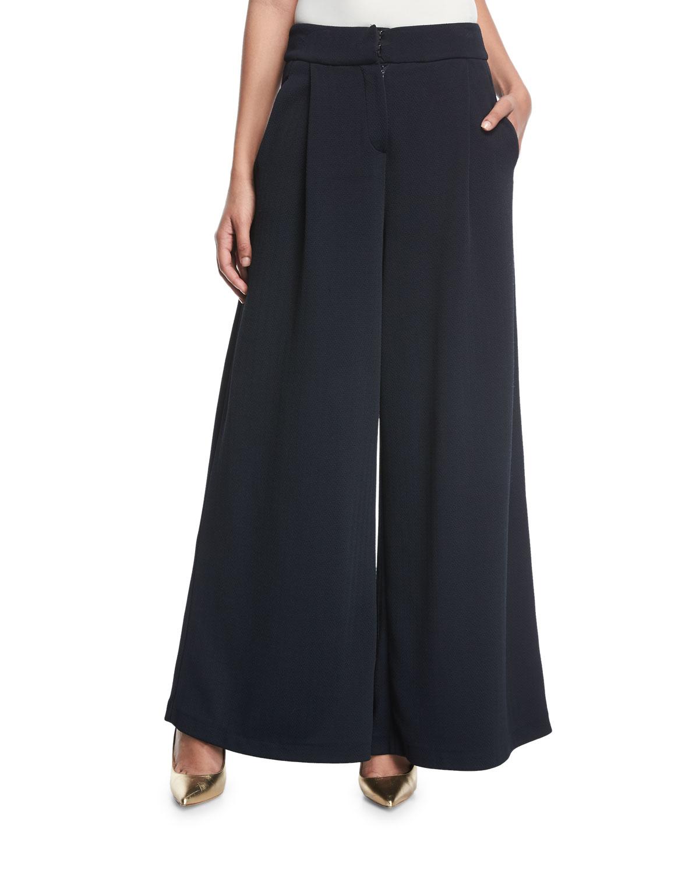 Mid-Rise Wide-Leg Chevron Knit Jacquard Pants