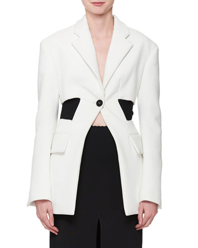 Single-Button Long-Sleeve Blazer Jacket