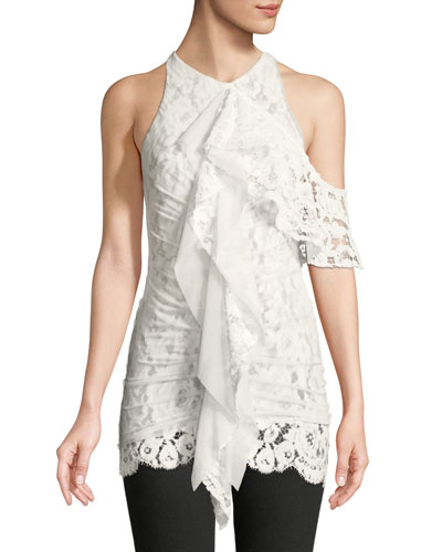 One-Shoulder Ruffle Front Lace Top