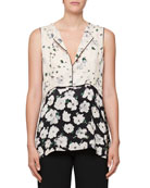 Split-Neck Sleeveless Floral-Print Blouse