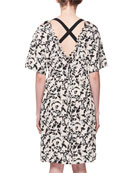 Scribble-Rose Crisscross-Back Silk Dress