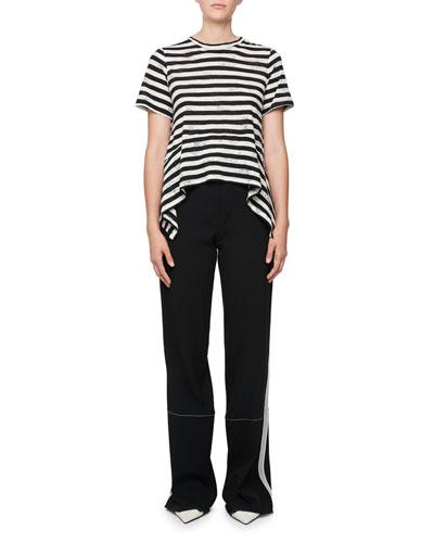 Short-Sleeve Striped Cotton T-Shirt