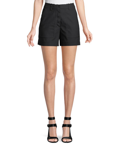 High-Waist Button-Fly Cotton Shorts