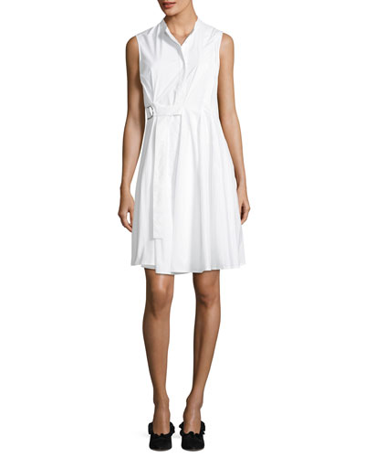 Sleeveless Side-Wrap Pleated Poplin Dress