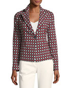 Notched-Lapel One-Button Optic-Print Wool-Blend Jacket