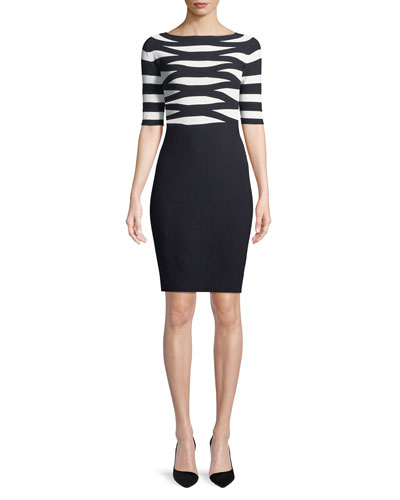 Boat-Neck Elbow-Sleeve Striped Top Fitted Knit Dress