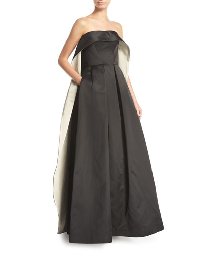 Strapless Cape-Back Evening Gown