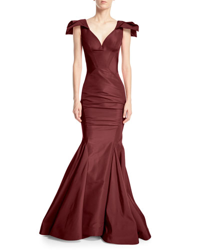 Sweetheart Sleeveless Mermaid Silk-Faille Evening Gown