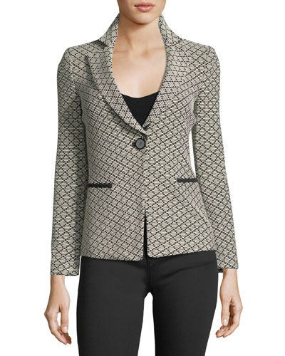 One-Button Diamond-Jacquard Knit Jacket