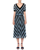 V-Neck Short-Sleeve Chevron Woven Midi Dress