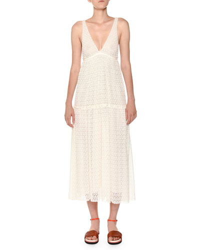 Deep-V Sleeveless Lace Maxi Dress