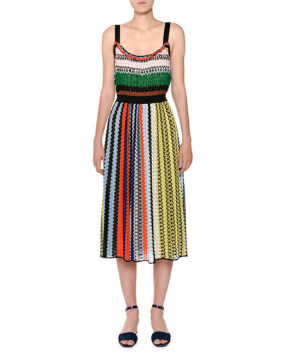 Thin-Strap Elastic-Waist Multicolor Knit Midi Dress
